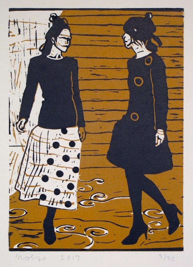 'Dansende vrouwen 1', linosnede 26,5 x 19 cm