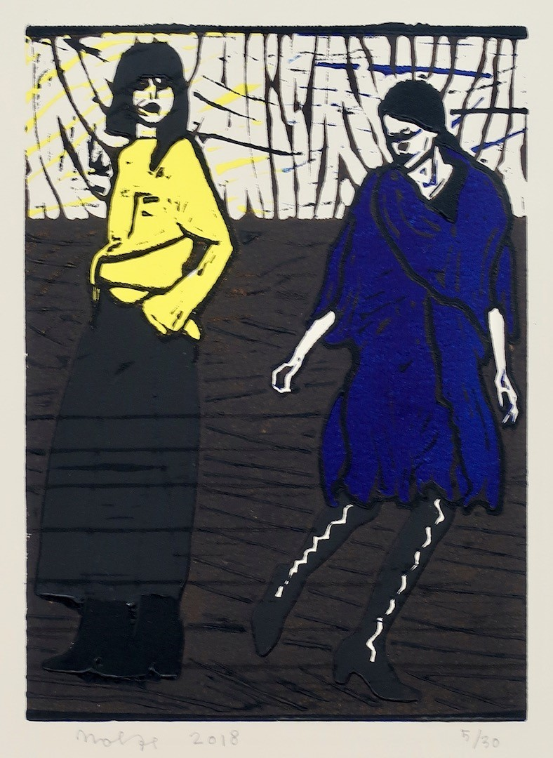'Dansende vrouwen 2', linosnede 26,5 x 19 cm
