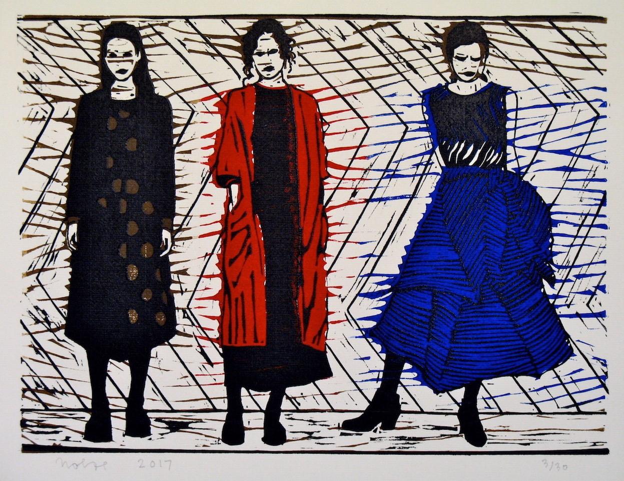 'Drie jonge dames', linosnede 29 x 39 cm