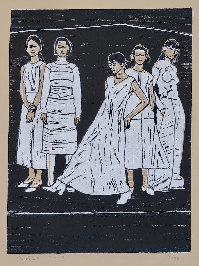 'Vrouwen, dochters', linosnede 39 x 29 cm