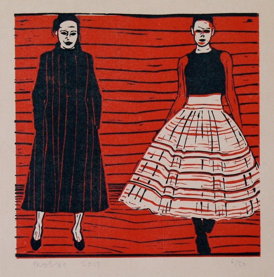 'Vrouwen in een rode tent', linosnede 26,5 x 27 cm