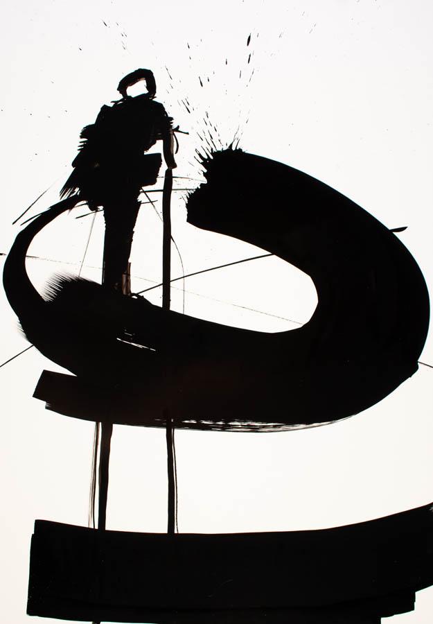 aanwezig, 2020, penseeltekening, 70 x 100 cm