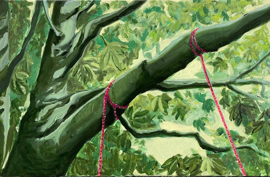 it's just a rope, 2021, olie en acryl op doek, 50 x 70 cm