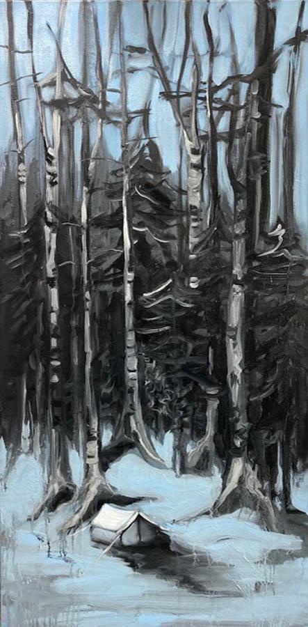 shelter, 2021, olie en acryl op doek, 50 x 100 cm