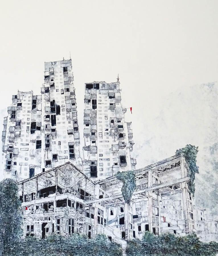 tilburgimpressie, 2020, print-tekening, 60 x 72 cm